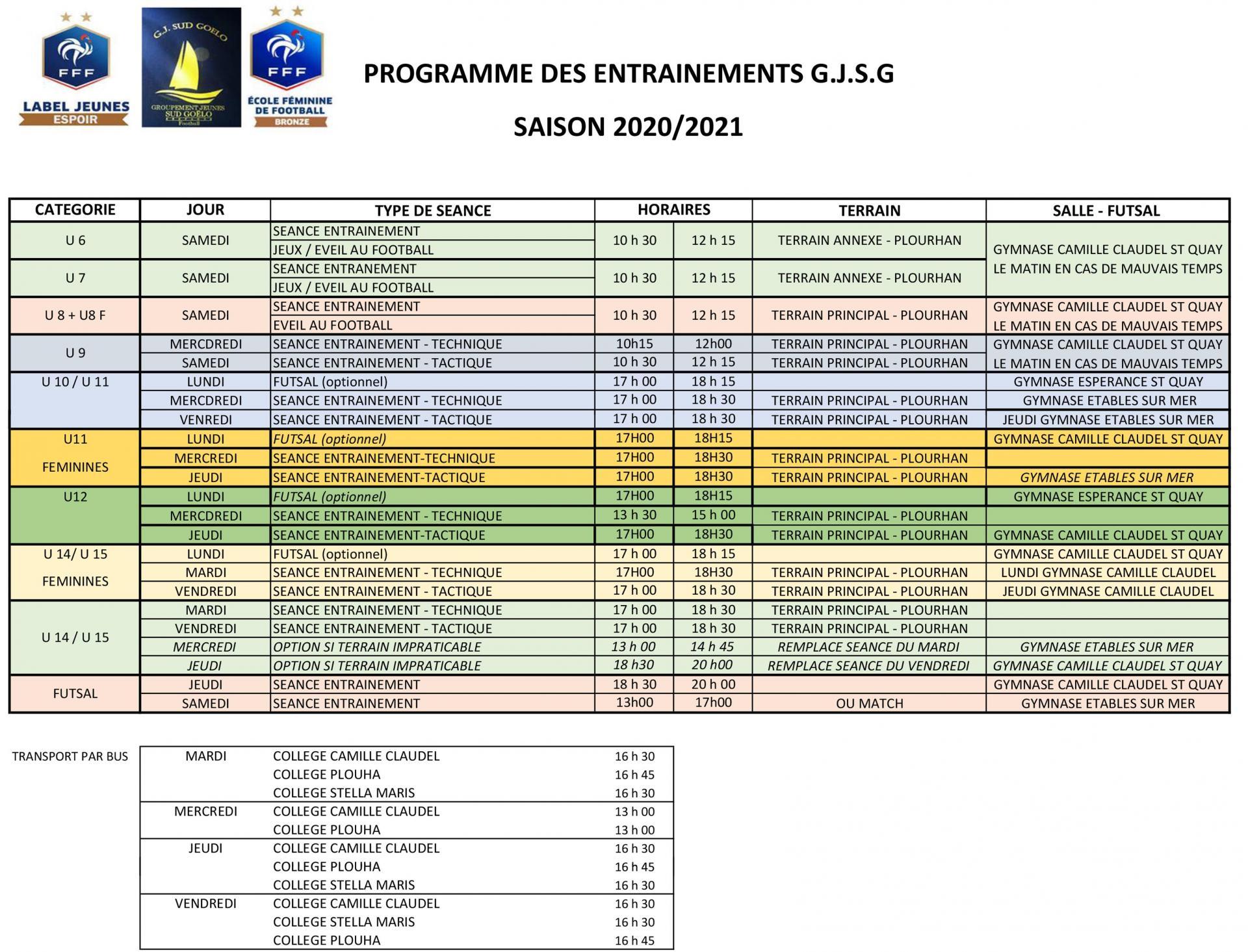 Programme entrainements 2021 2023